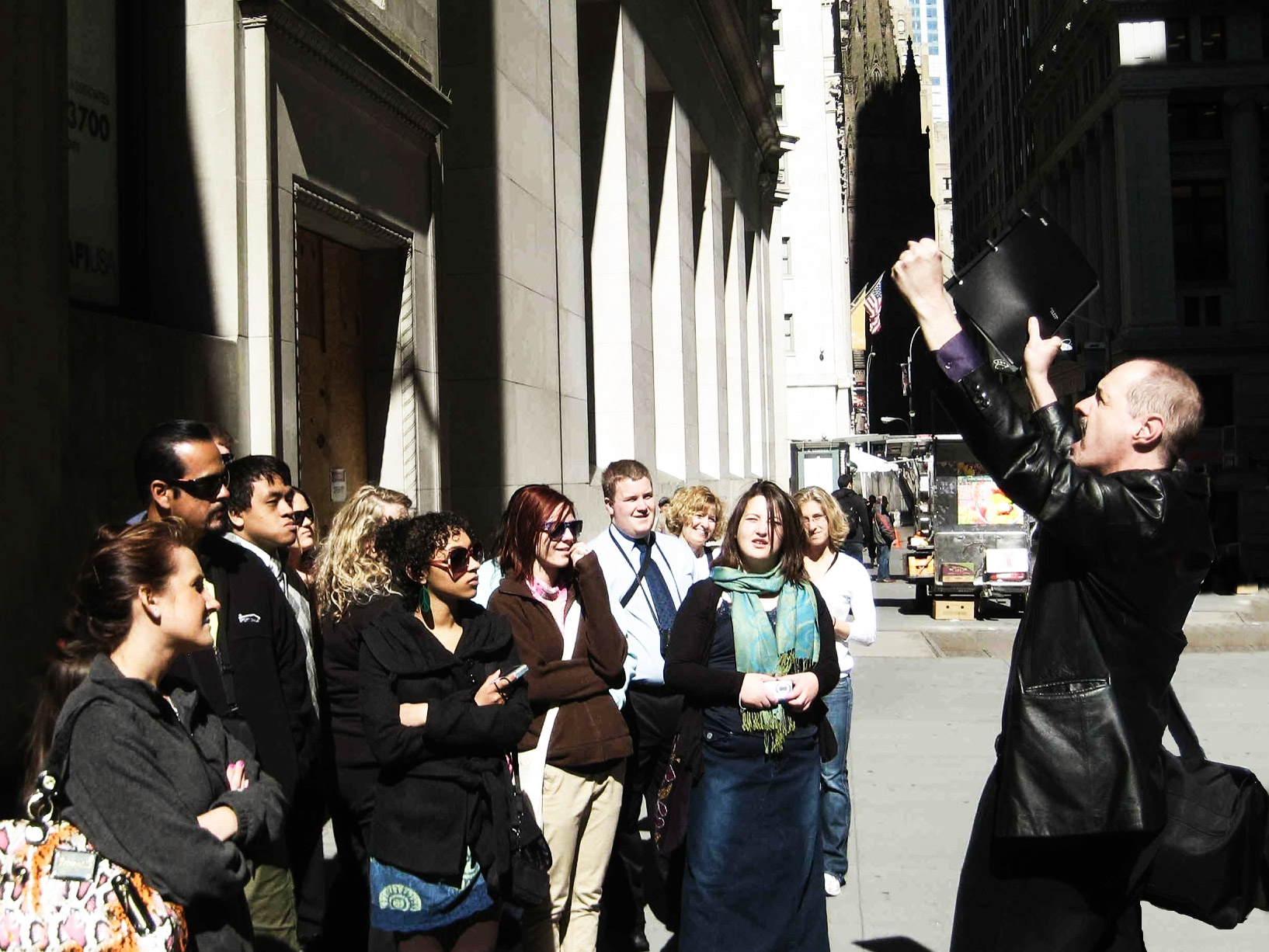 Tom with Wall Street tour group