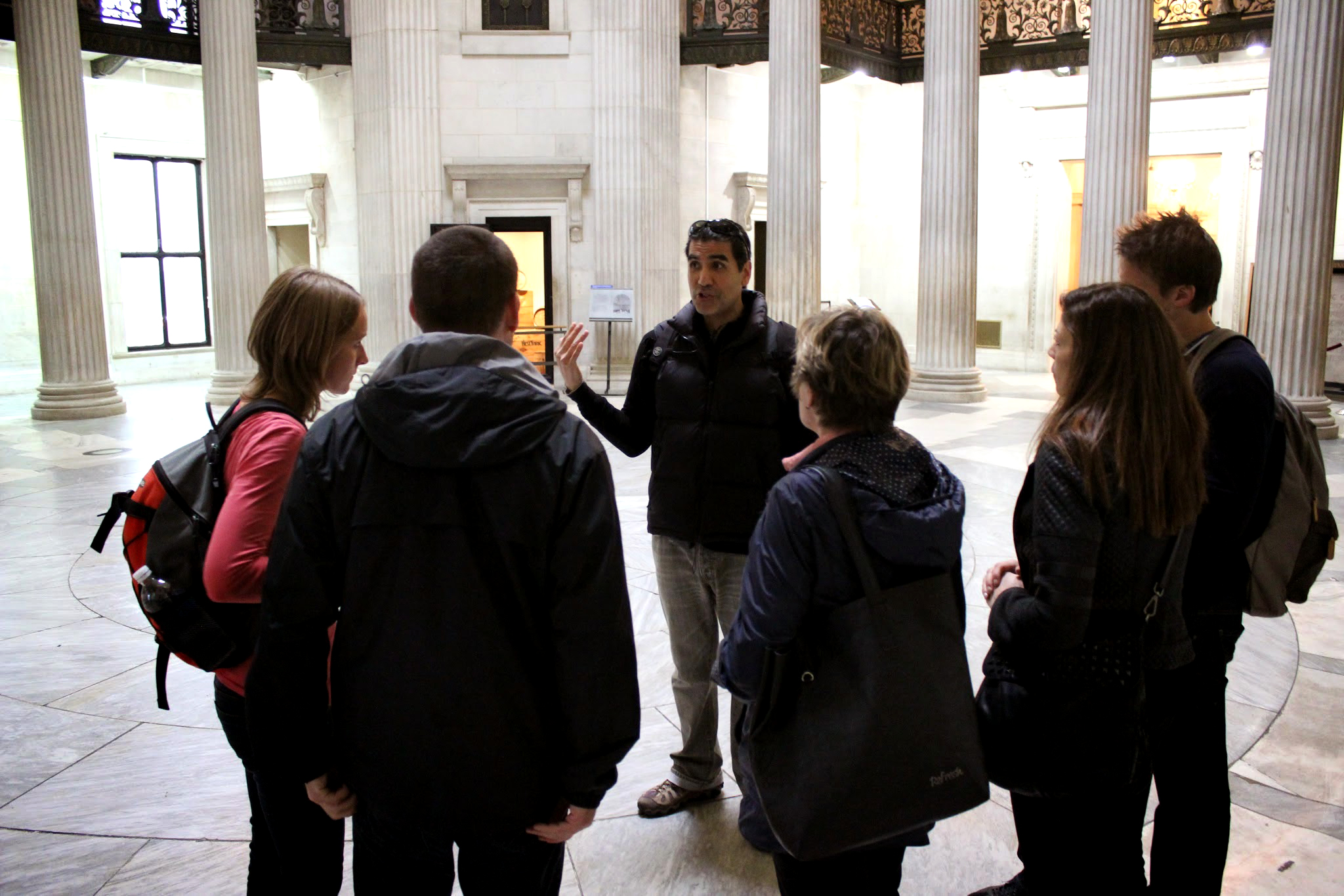 Tour group inside Wall Street