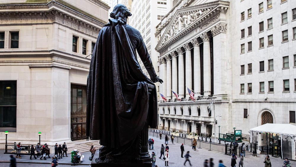 Wall Street from above with statue